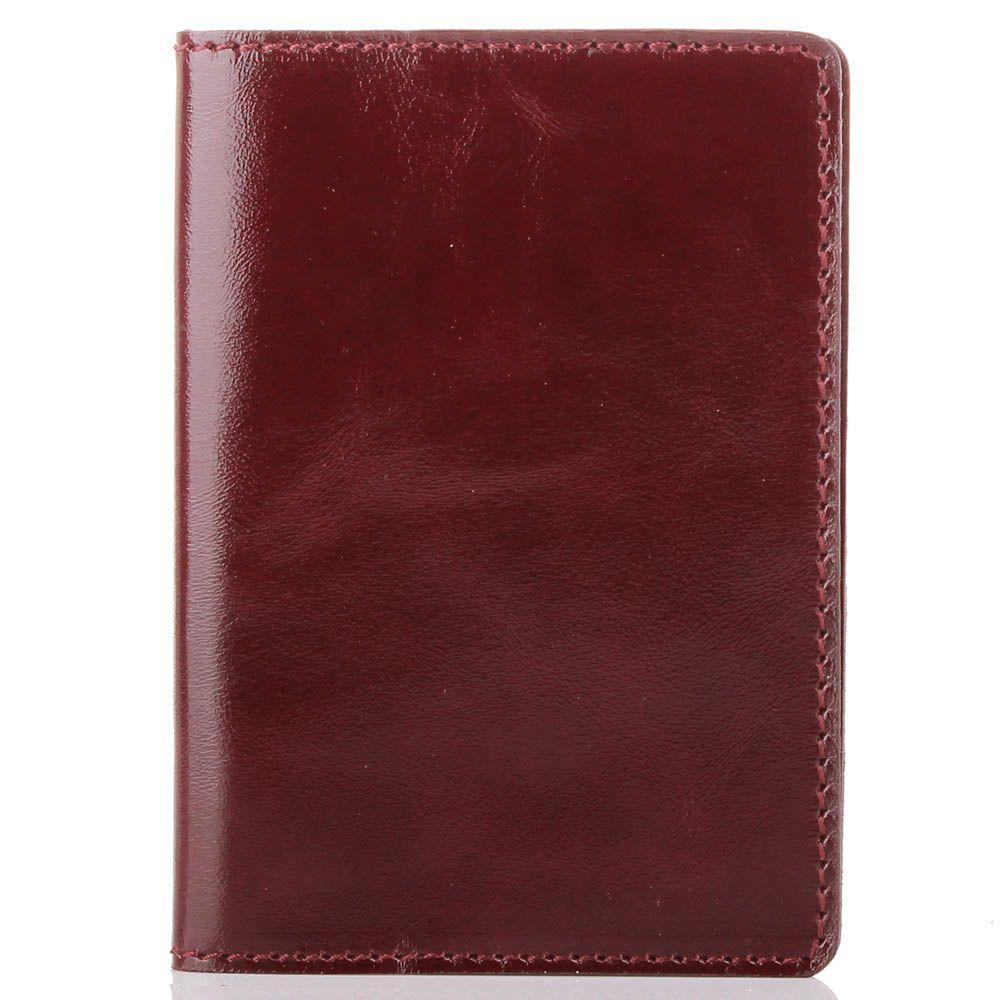 Обложка для паспорта Rechi.Ua темно-бордового цвета из глянцевой кожи