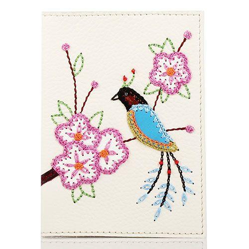 Обложка для паспорта Unique U бежевого цвета Японская птичка, фото