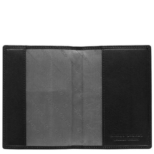 Обложка для паспорта Avanzo Daziaro Aqua из черной кожи с тиснением Баффало, фото