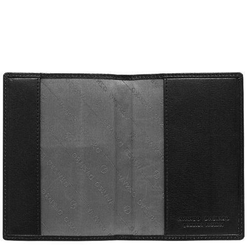 Обложка для паспорта Avanzo Daziaro Barcelona из черной кожи с тиснением Баффало, фото