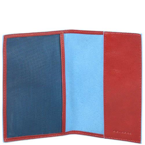Красная обложка Piquadro Blue Square для паспорта из кожи, фото
