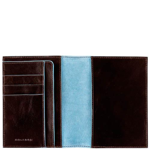 Коричневая обложка Piquadro Blue Square для паспорта с карманами, фото