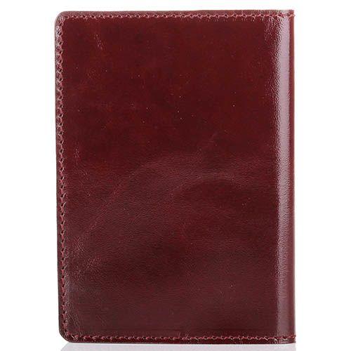 Обложка для паспорта Rechi.Ua темно-бордового цвета из глянцевой кожи, фото
