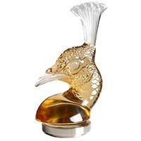 Пресс-папье Lalique Голова Павлина золотой хрусталь, фото
