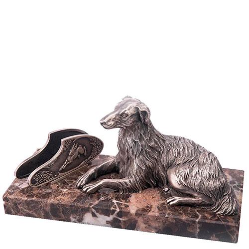Серебряная визитница Оникс ручной работы Верный охранник, фото
