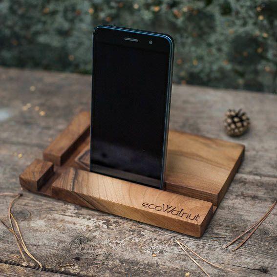 Прямоугольная деревянная подставка под смартфон Ecowalnut