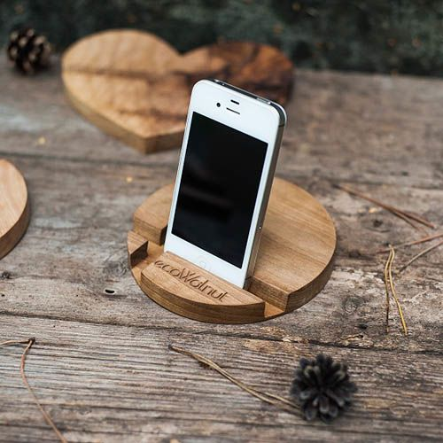 Круглая подставка под смартфон Ecowalnut из дерева, фото