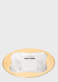 Хрустальная чаша Lalique Trefle с золотистой каймой, фото