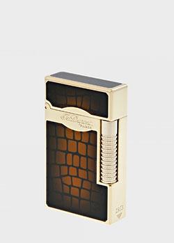 Зажигалка S.T.Dupont Croco Dandy с позолотой и тиснением кроко, фото
