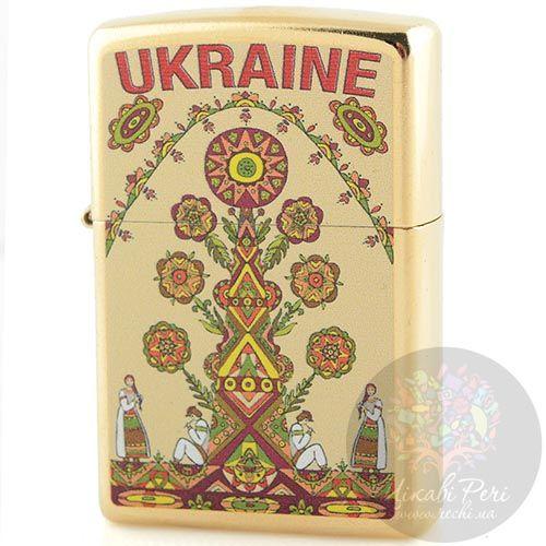 Зажигалка Zippo украшенная рисунком в украинском народном стиле, фото