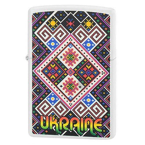 Зажигалка Zippo с цветным рисунком в стиле украинской народной вышивки, фото