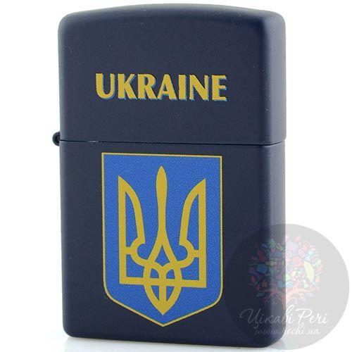 Зажигалка Zippo темно-синяя с гербом Украины, фото