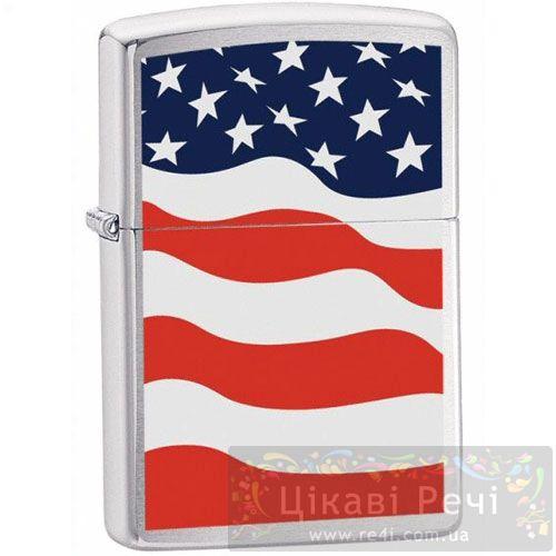 Зажигалка American Flag Brushed Chrome, фото