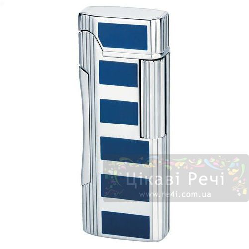Зажигалка Primo серебристая с синими полосками, фото