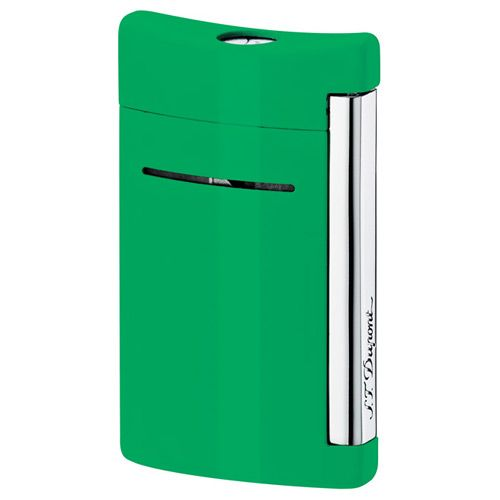 Зажигалка S.T.Dupont MiniJet в бархатистом лаке ярко-зеленого цвета с хромированными элементами, фото