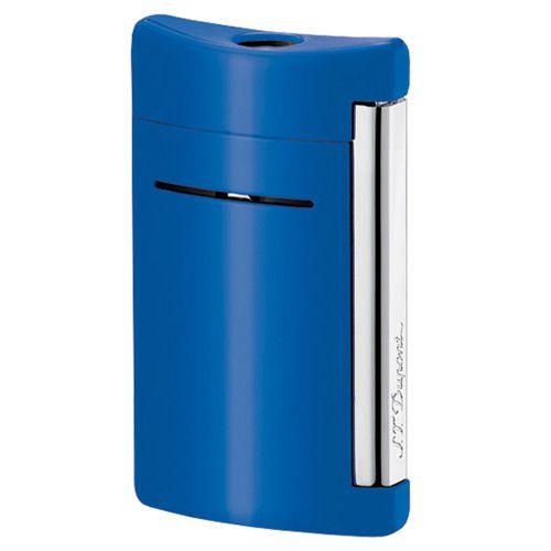 Зажигалка S.T.Dupont MiniJet в бархатистом лаке ярко-синего цвета с хромированными элементами, фото