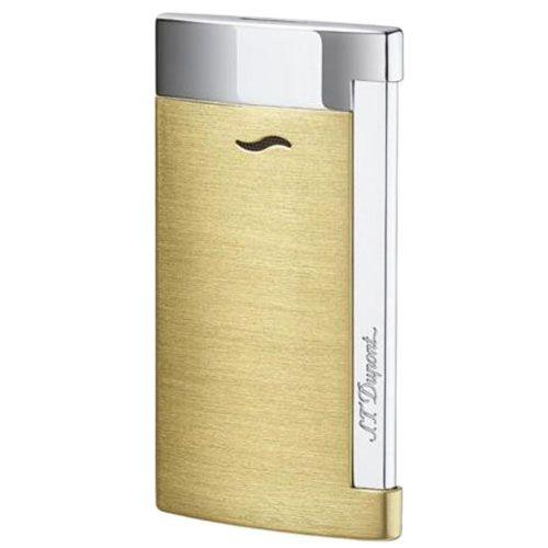 Тонкая зажигалка S.T.Dupont Slim 7brush золотистого цвета, фото