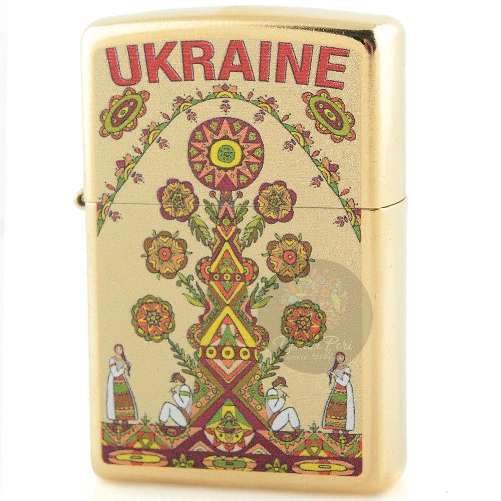 Зажигалка Zippo украшенная рисунком в украинском народном стиле
