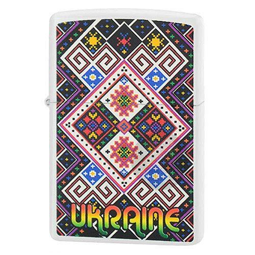 Зажигалка Zippo с цветным рисунком в стиле украинской народной вышивки