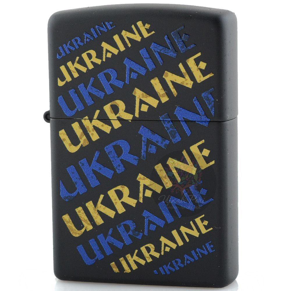 Зажигалка Zippo Ukraine с надписями в желтом и голубом цветах