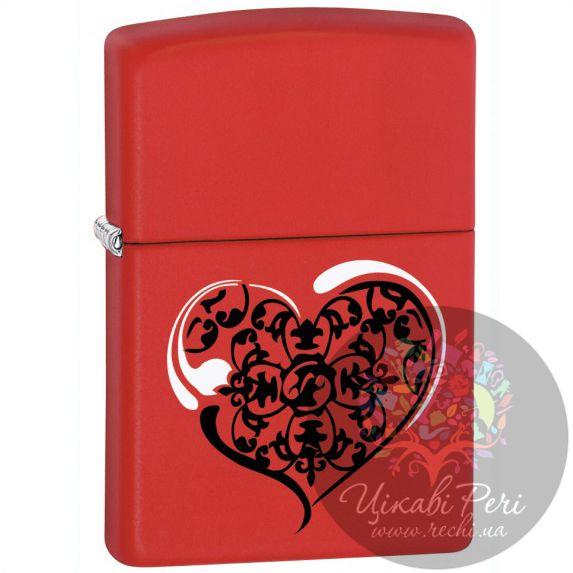 Зажигалка красная матовая Zippo с сердцем