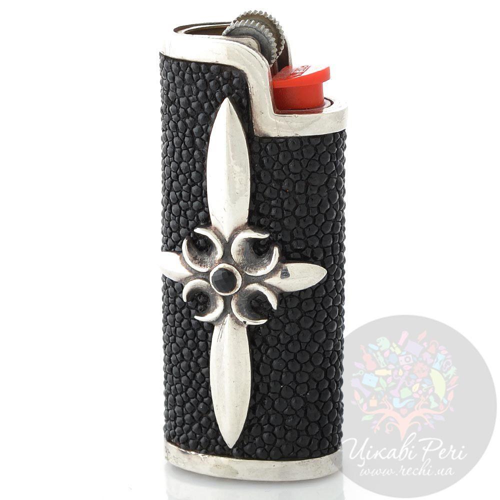 Чехол для зажигалки ElfCraft из серебра и черной кожи ската с ониксом