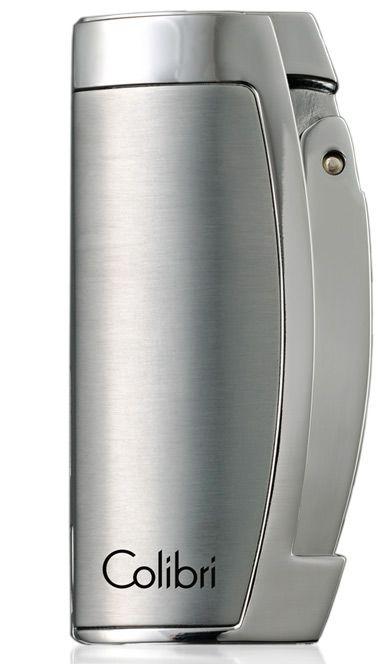 Зажигалка Colibri Enterprise серебристая с пробойником для сигар