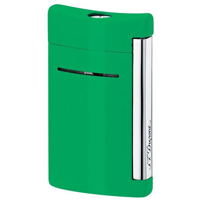 Зажигалка S.T.Dupont MiniJet в бархатистом лаке ярко-зеленого цвета с хромированными элементами