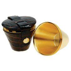 Набор из фляги портсигара и стаканчиков (позолота), фото