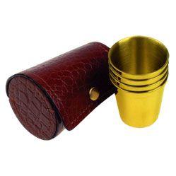 Набор из фляги и стаканчиков (позолота), фото