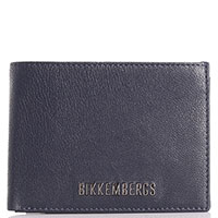 Темно-синее портмоне Bikkembergs с брендовым декором, фото