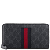 Серый кошелек Gucci Supreme с логотипом, фото