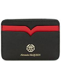 Визитница Alexander McQueen из черной кожи, фото