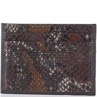 Кардхолдер Cavalli Class маленький коричневого отенка с фактурной кожей под змею, фото
