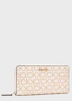 Белый кошелек Calvin Klein с фирменным принтом, фото