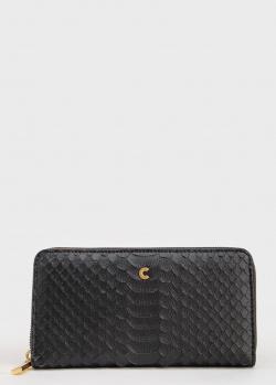 Черный кошелек Coccinelle с тиснением под рептилию, фото