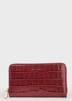 Бордовый кошелек Coccinelle с тиснением кроко, фото