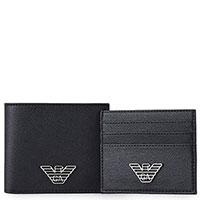 Набор из портмоне и кардхолдера Emporio Armani черного цвета, фото