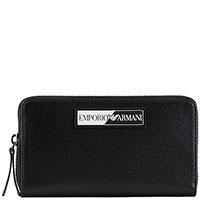 Черный кошелек Emporio Armani с контрастным логотипом, фото