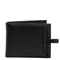 Черное портмоне Emporio Armani с дополнительным отделением для карт, фото