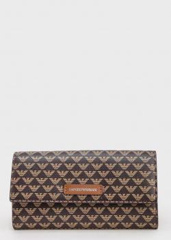 Коричневый кошелек Emporio Armani с принтом, фото