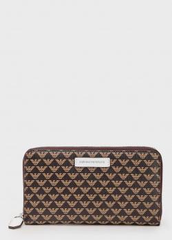 Коричневый кошелек Emporio Armani с брендовым принтом, фото