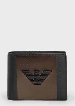 Мужское портмоне Emporio Armani с коричневой вставкой, фото