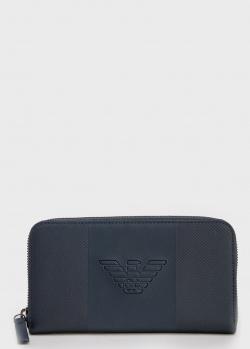 Синий кошелек Emporio Armani с логотипом, фото
