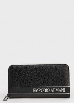 Черный кошелек Emporio Armani с вышивкой, фото