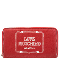 Женский кошелек Love Moschino красного цвета с вышивкой, фото