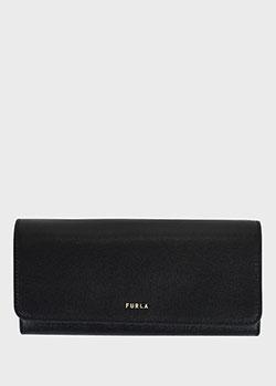 Прямоугольный кошелек Furla Babylon Saffiano из черной кожи, фото