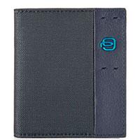 Вертикальная кредитница Piquadro Pulse синего цвета, фото
