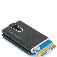 Кредитница-портмоне Piquadro Bl Square с выдвижным механизмом черного цвета, фото