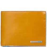 Горизонтальное желтое портмоне Piquadro Blue Square из кожи, фото